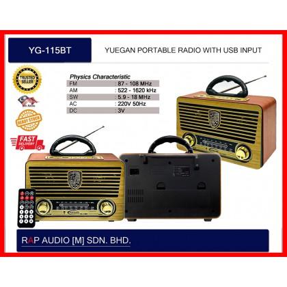 [YUEGAN] YG-115BT  PORTABLE RADIO  (FM/AM/USB/W-REMOTE CONTROL)